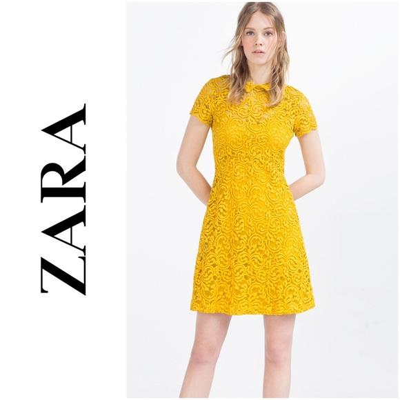Zara Mustard Yellow Lace Dress W Flounce Skirt